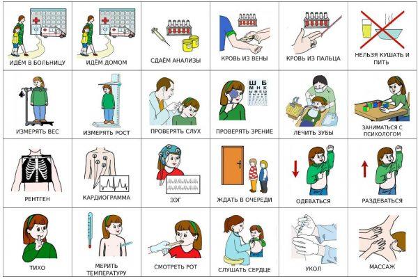В больнице - карточки для девочки с темными волосами (русский)