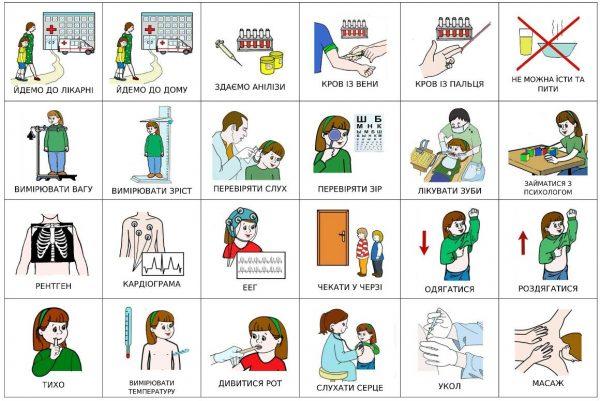 В больнице - карточки для девочки с темными волосами (украинский)