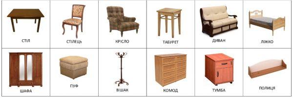 Мебель (с подписями на украинском)