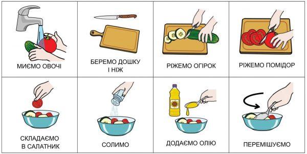 Салат (помидор, огурец) на украинском