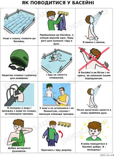 Как вести себя в бассейне (на украинском)