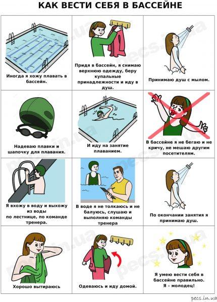 Как вести себя в бассейне (на русском)