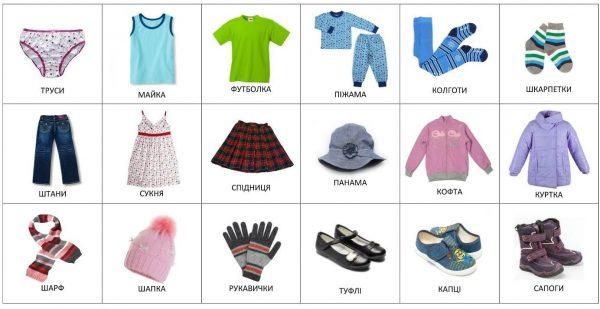 Одежда для девочки (с подписями на украинском)