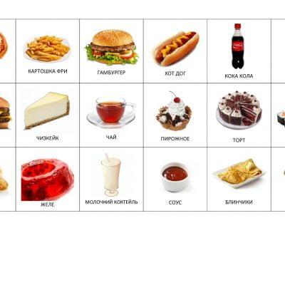 Карточки с изображением популярных блюд в кафе и ресторанах быстрого питания.