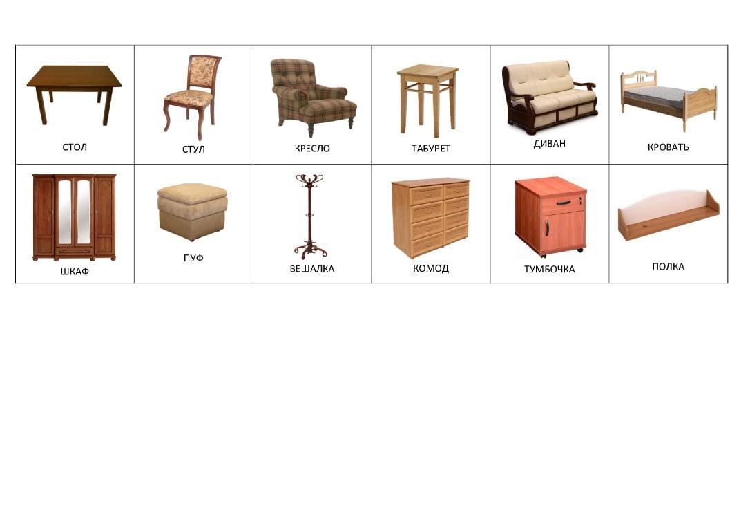 Мебель (с подписями на русском)