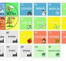 Карточки: число, месяц, день недели