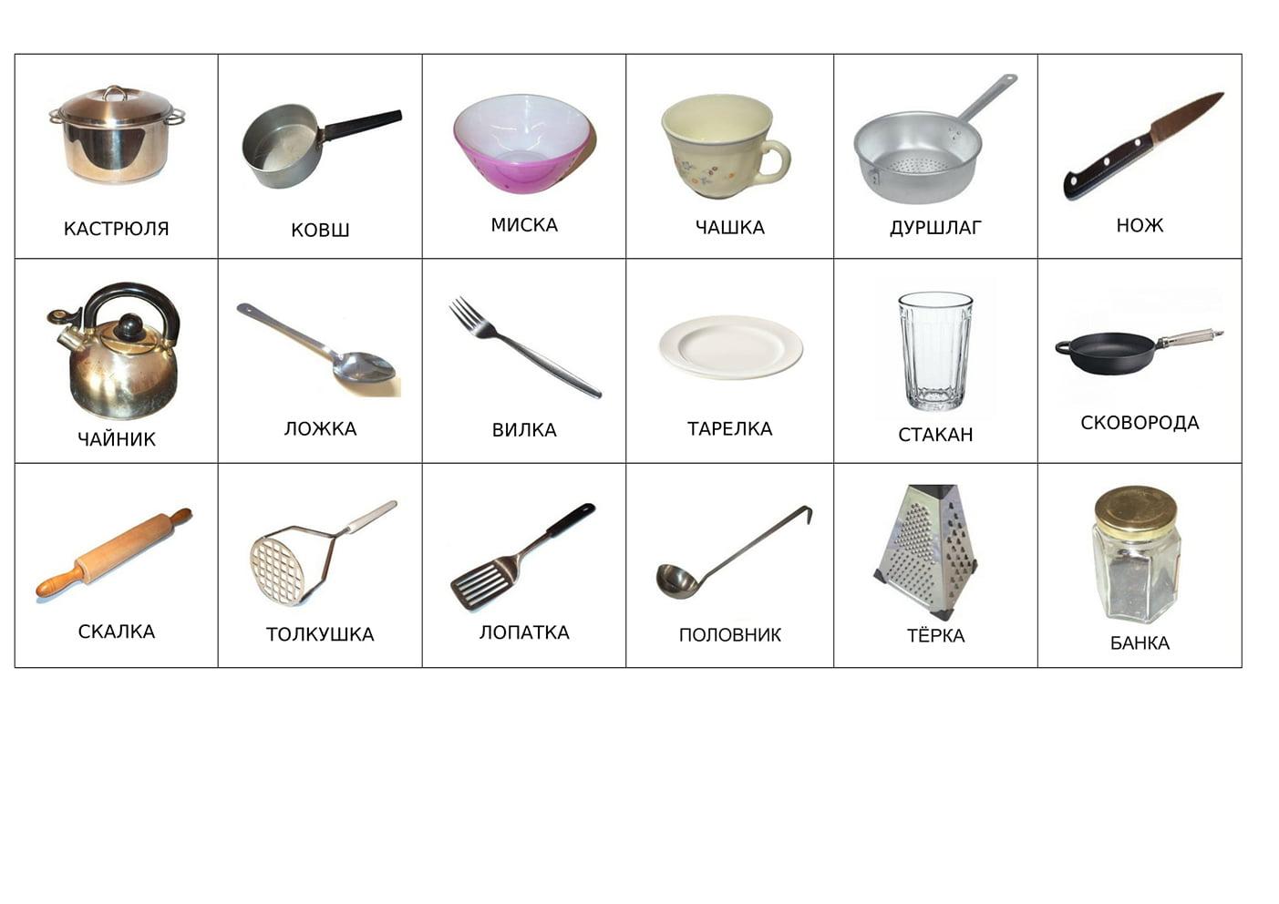 Посуда (с подписями на русском)
