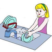 девочка-светлая-моет-посуду